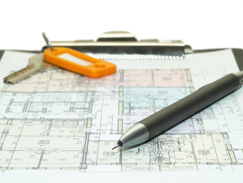 Modelo de los planes de la casa fotografía de archivo