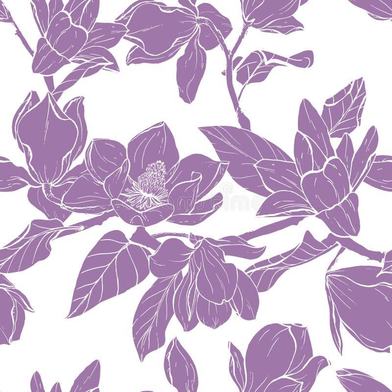 Modelo de los seamles del vector del ramo de la magnolia ilustración del vector