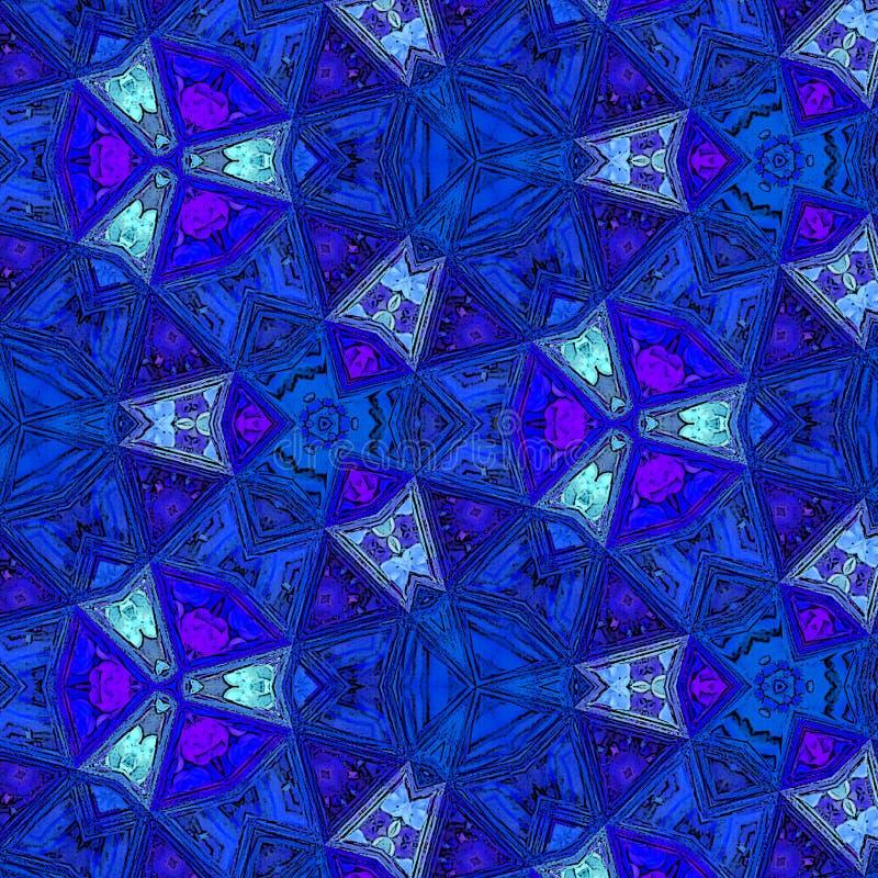 Modelo de los triángulos de la decoración en colores del azul y del puerto deportivo Línea diseño continuo del arte Bosquejo del  libre illustration