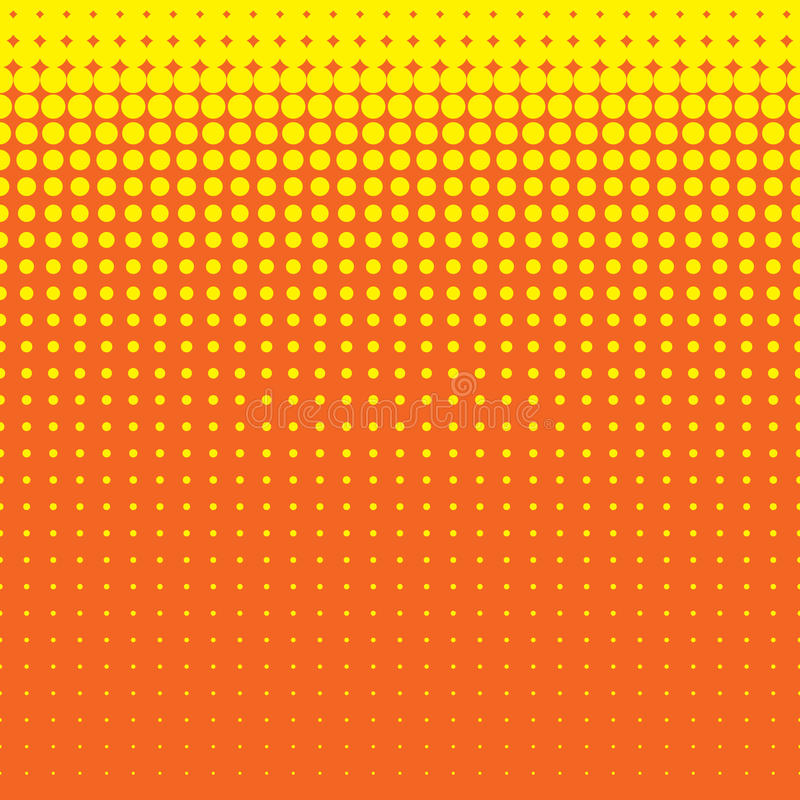 Modelo de lunares amarillo inconsútil hermoso en fondo anaranjado libre illustration