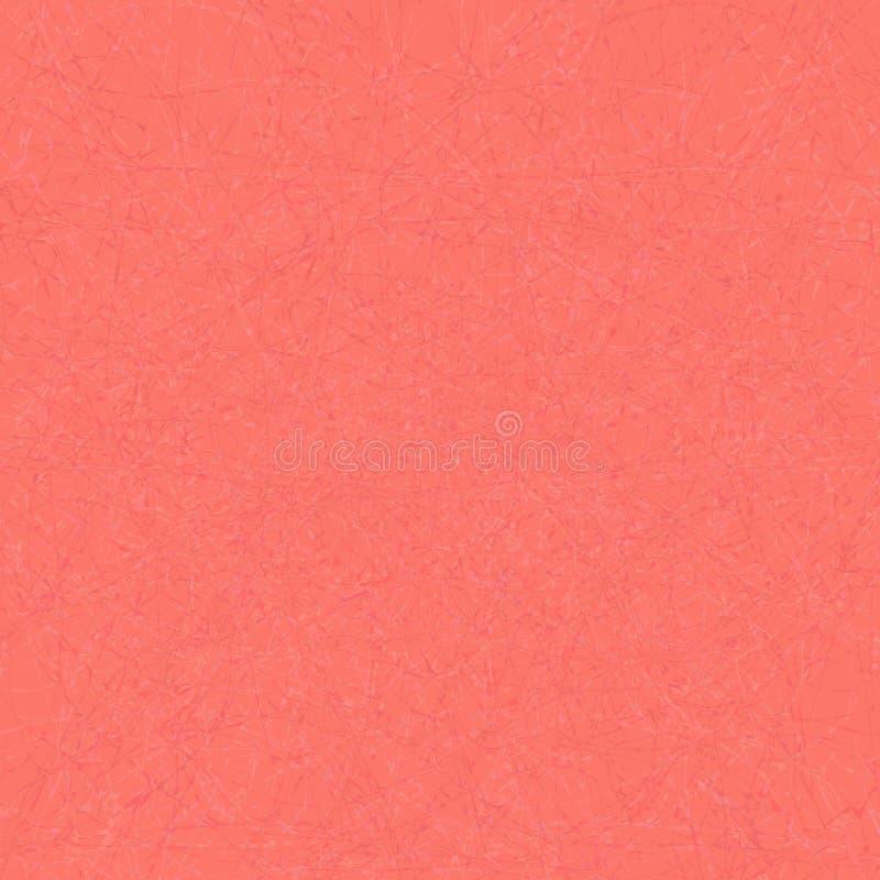 Modelo de mármol del vector de hilos enredados en el contexto rojo, color moderno, de moda del coral de vida stock de ilustración