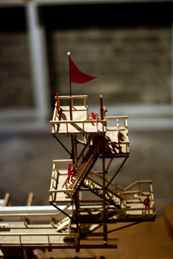 Modelo de madeira da torre de incêndio fotos de stock royalty free