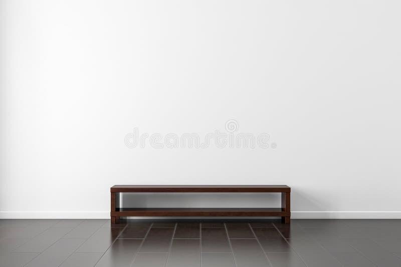 Modelo de madeira escuro do departamento do console da tevê perto da parede branca na sala de visitas vazia ilustração do vetor