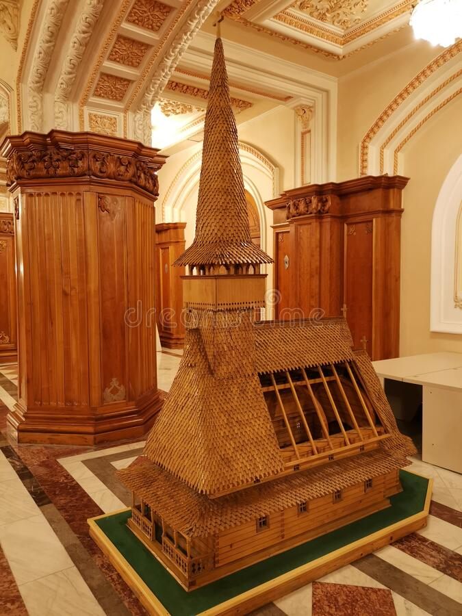 Modelo de madera de la iglesia maramures fotografía de archivo