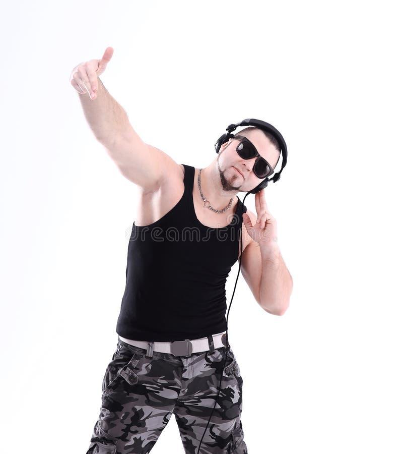 Modelo de manera urbano Estilo de la danza de la calle de Hip Hop DJ del inconformista imagen de archivo