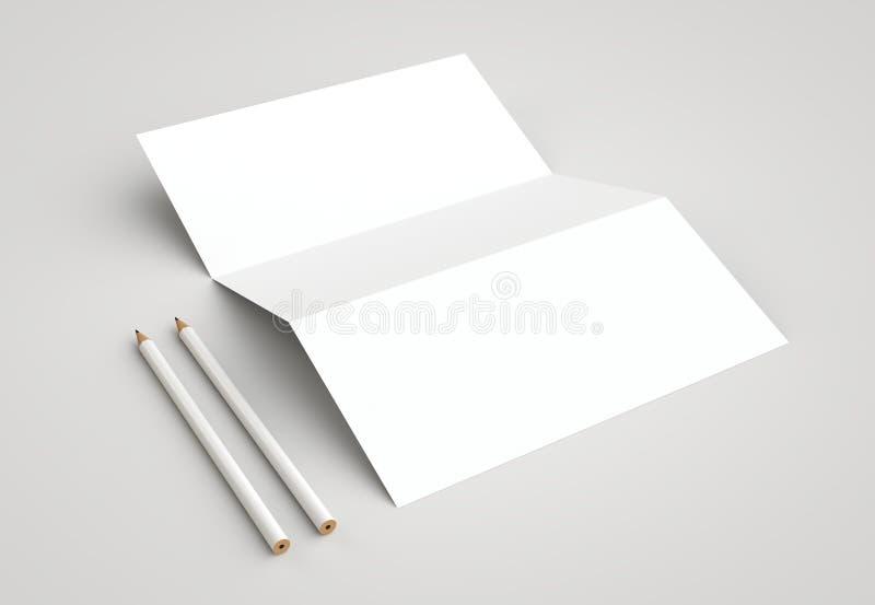 Modelo de marcagem com ferro quente dos artigos de papelaria incorporados no fundo branco imagem de stock royalty free