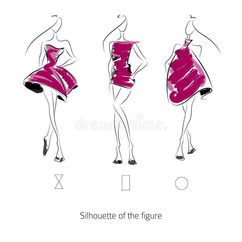 Modelo de moda del vector Silhouette imágenes de archivo libres de regalías