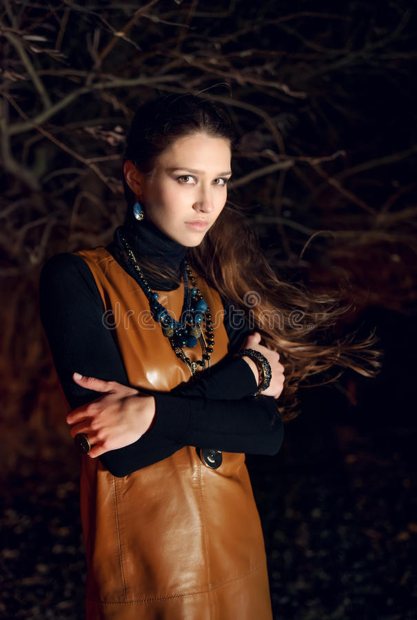 Modelo de moda en noche imagen de archivo libre de regalías