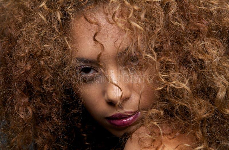 Modelo de moda femenino hermoso con la cara de la cubierta del pelo foto de archivo
