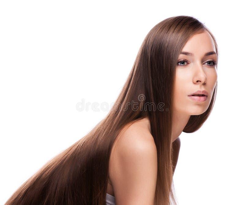 Modelo de moda Girl Portrait con el pelo que sopla largo Galán del encanto foto de archivo libre de regalías