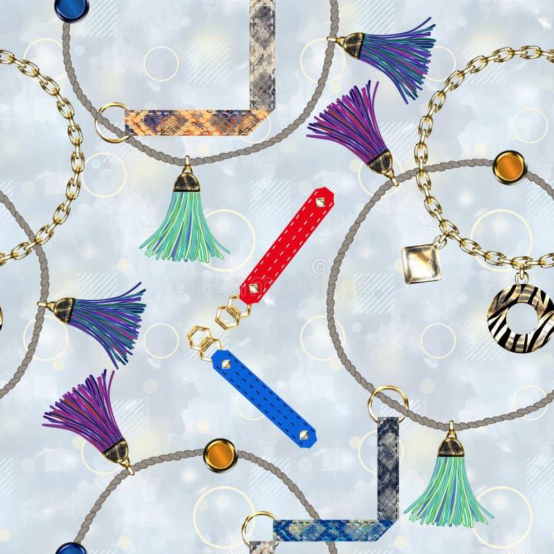 Modelo de moda inconsútil con las correas de cuero, cadenas, cepillos, cordones en un fondo gris claro ilustración del vector