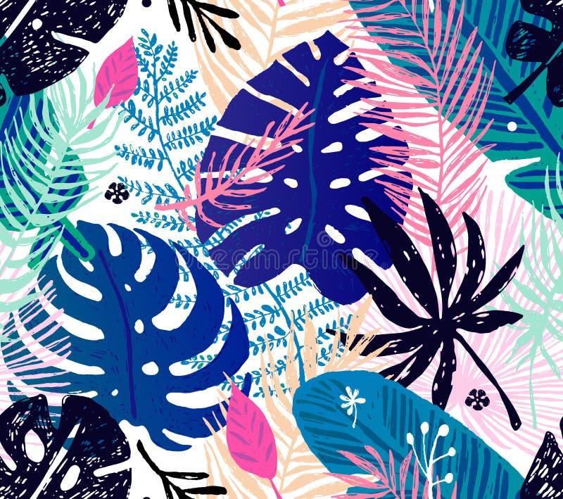 Modelo de moda inconsútil con las hojas de palma coloridas en un fondo blanco Ejemplo botánico del vector ilustración del vector