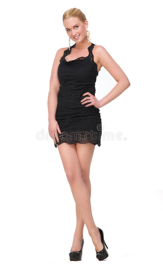 Modelo de moda rubio en alineada negra imagen de archivo libre de regalías