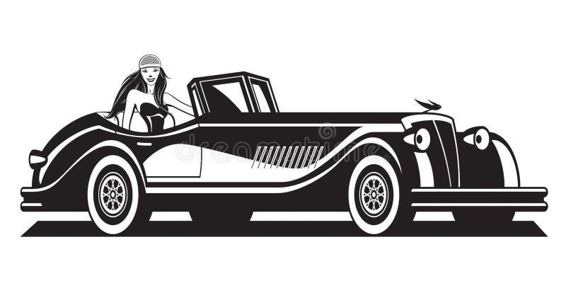 Modelo de moda y coche clásico libre illustration