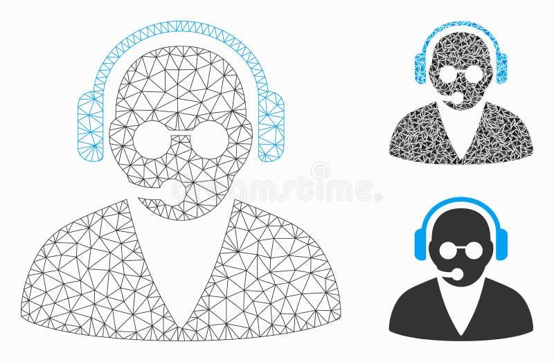 Modelo de Moldura de Rede de Vetor de Operador de Suporte e Ícone de Mosaico de Triângulo ilustração royalty free