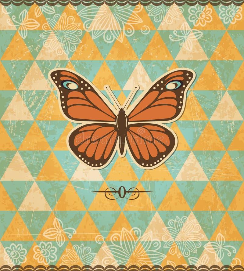 Modelo de mosaico del vintage de la mariposa libre illustration