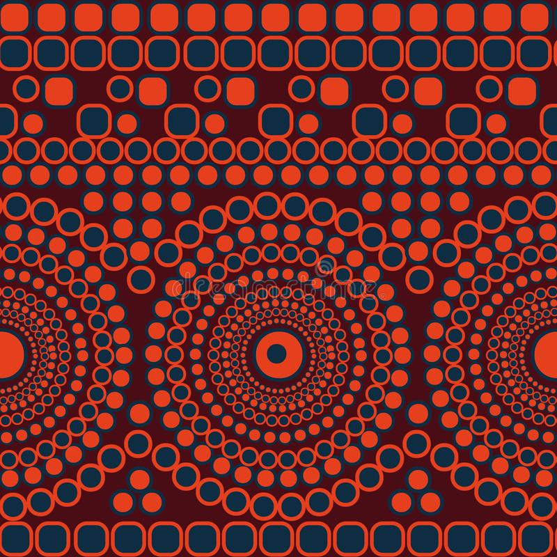 Modelo de mosaico inconsútil del extracto del vector con los círculos y los cuadrados que forman rayas y mandalas ilustración del vector