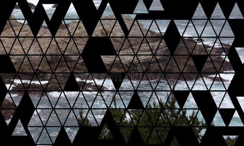 Modelo de mosaico de las rocas y de los acantilados costeros - del viaje por carretera carretera 1 de California abajo stock de ilustración