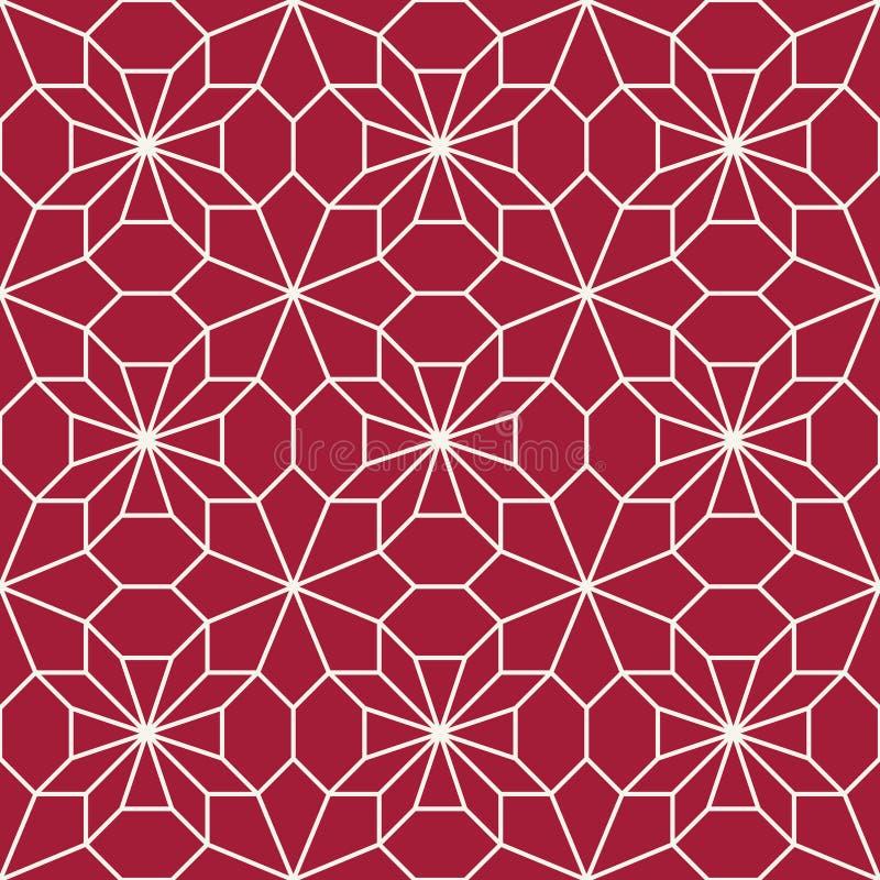 Modelo de mosaico rojo geométrico abstracto de la almohada del arte del deco ilustración del vector