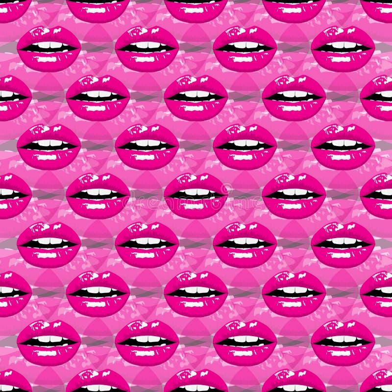 Modelo de niña hermoso con los labios stock de ilustración