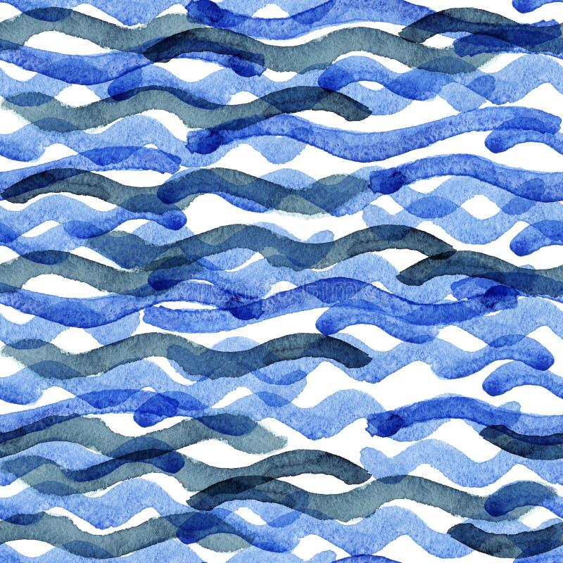 Modelo de onda azul de la acuarela abstracta stock de ilustración