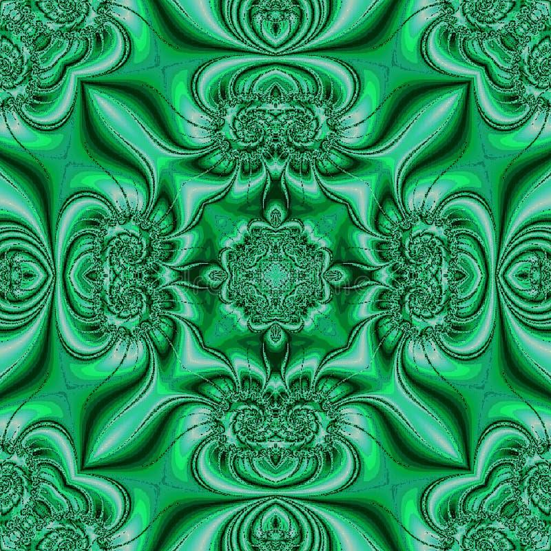 Modelo de ornamentos circulares Turquesa del trullo y fondo verde en el estilo de la pintura china en la porcelana ilustración del vector
