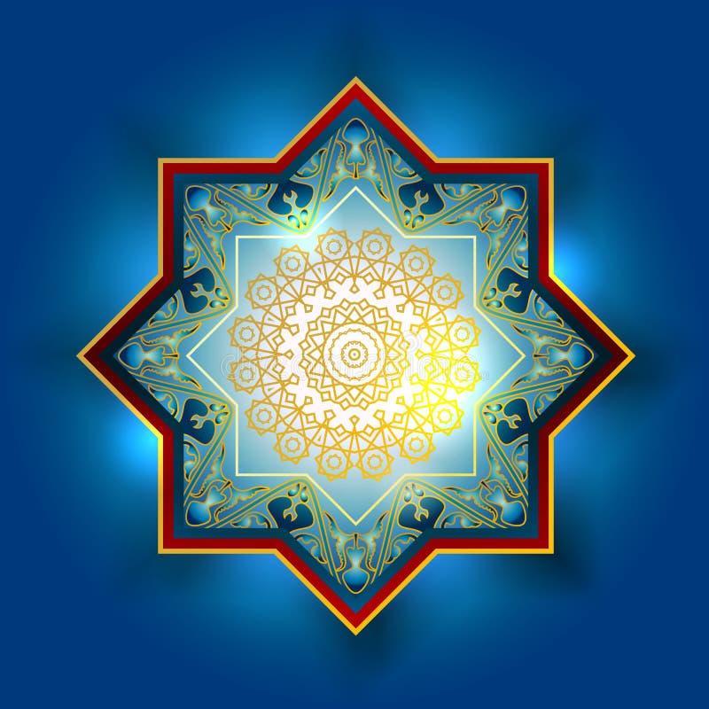 Modelo de oro árabe ornamental de los elementos del vector Bokeh enciende el fondo festivo Tarjeta de felicitación, invitación pa ilustración del vector