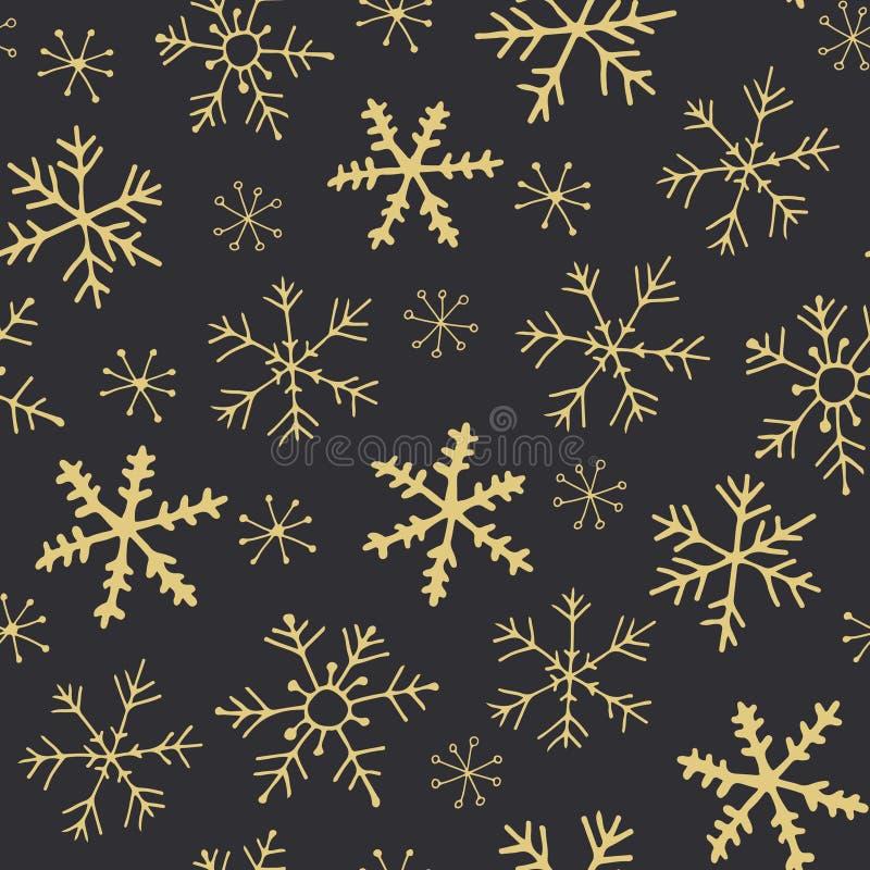 Modelo de oro de los copos de nieve ilustración del vector