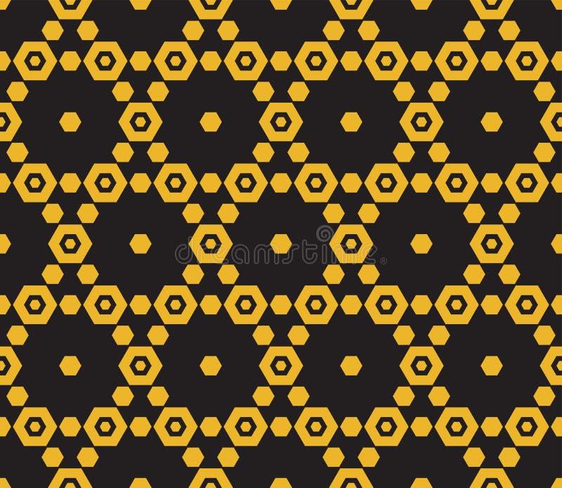 Modelo de oro del vector del panal Oro elegante y fondo negro de los hexágonos libre illustration