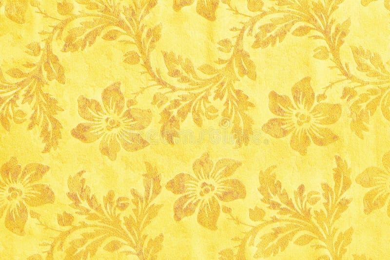 Modelo de oro de la materia textil del brocado del ornamento floral fotografía de archivo