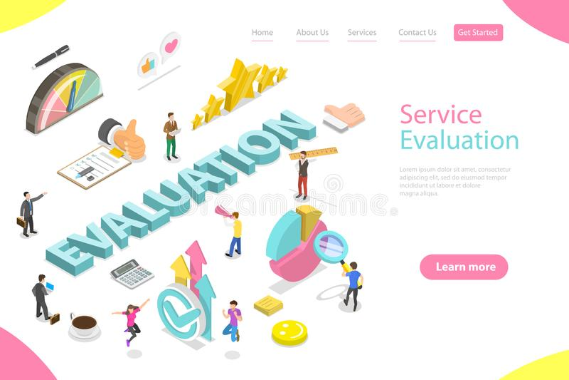 Modelo de página de aterrissagem isométrica de vetor plano para avaliação de serviços ilustração royalty free