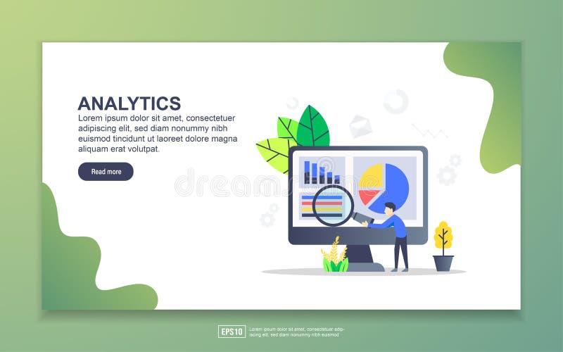 Modelo de página inicial de análise Conceito moderno de design simples de página web para website e website móvel Fácil de editar ilustração stock