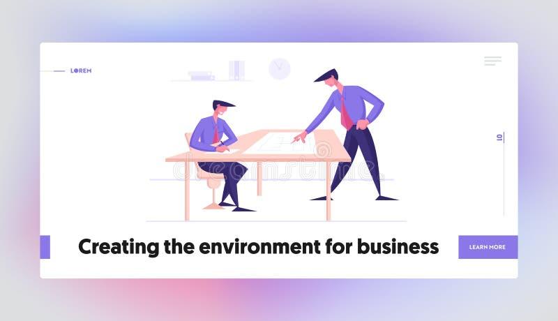 Modelo de Página Inicial de Brainstorm de Equipe Pessoas de negócios discutindo projeto de trabalho ou ideias criativas ilustração royalty free