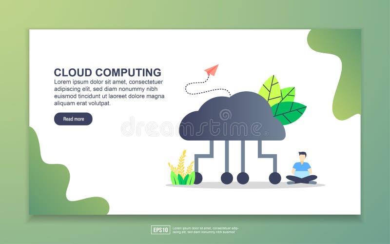 Modelo de página inicial de computação em nuvem Conceito moderno de design simples de página web para website e website móvel Fác ilustração royalty free