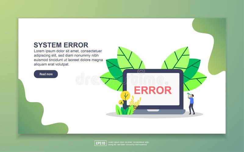 Modelo de página inicial do erro de sistema Conceito moderno de design simples de página web para website e website móvel Fácil d ilustração do vetor