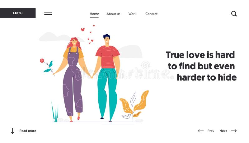 Modelo de Página Inicial Feliz em Amor Conceito Romático de Namoro com o Homem e a Mulher Caracteriza Romance ilustração stock