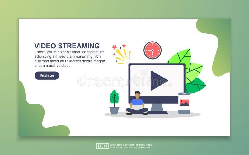 Modelo de página inicial de streaming de vídeo Conceito moderno de design simples de página web para website e website móvel Fáci ilustração do vetor