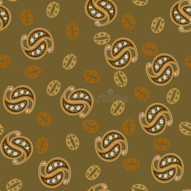 Modelo de Paisley de los granos de café en colores marrones calientes Modelo inconsútil del vector para empaquetar, publicidad, c stock de ilustración
