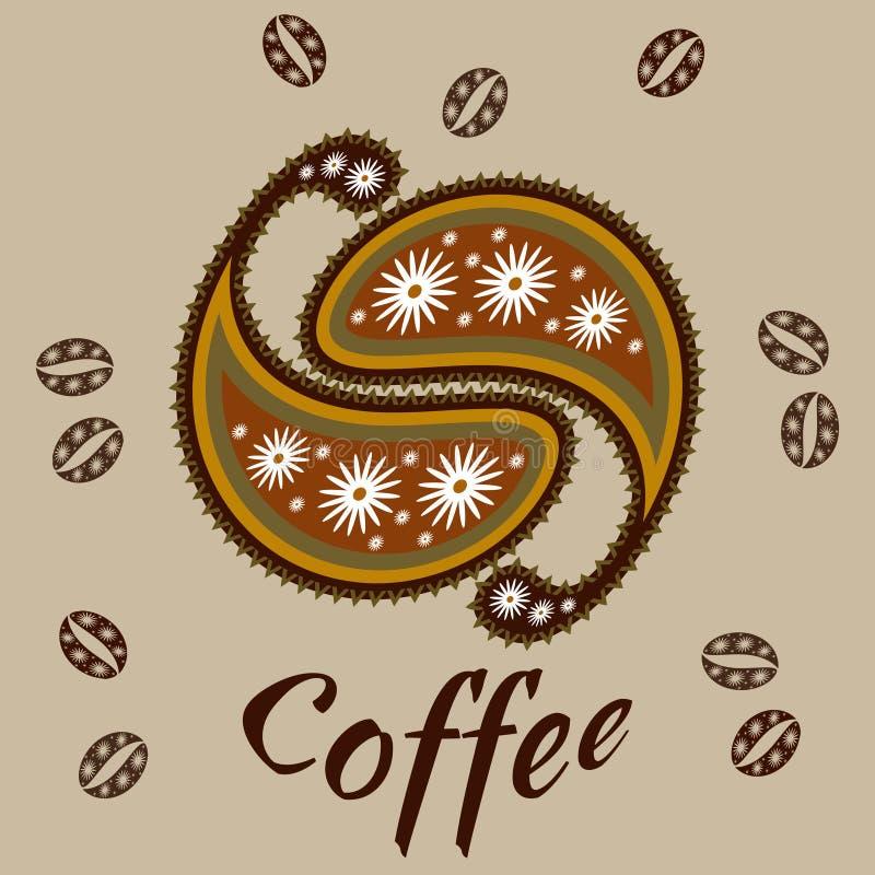 Modelo de Paisley de los granos de caf? en colores marrones calientes ilustración del vector