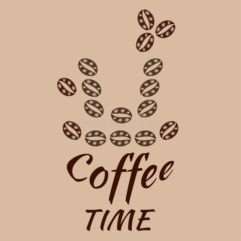 Modelo de Paisley de los granos de caf? en colores marrones calientes Forma de la taza de café y tiempo del café del texto libre illustration