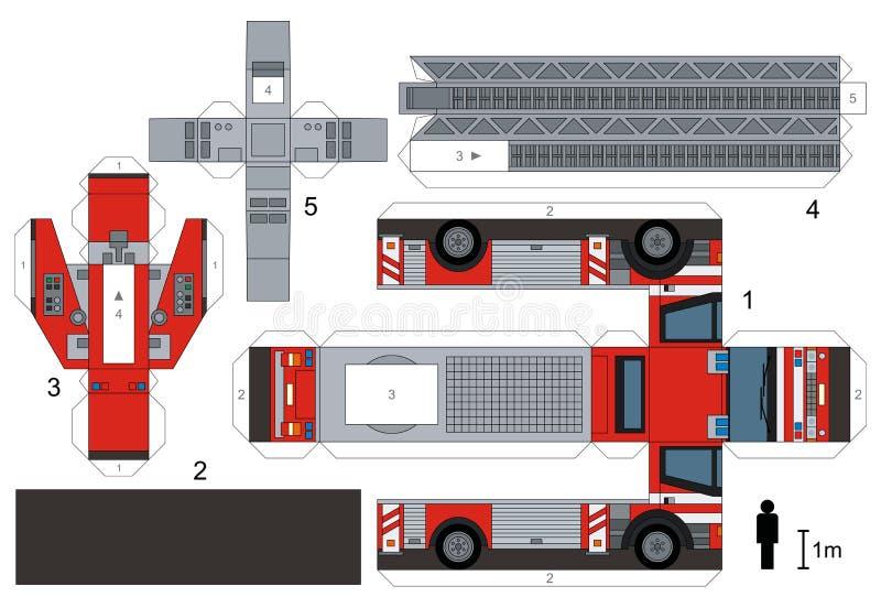 Modelo de papel de un coche de bomberos stock de ilustración
