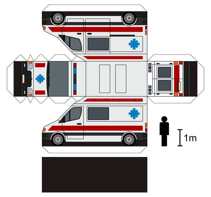 Modelo de papel de una ambulancia stock de ilustración