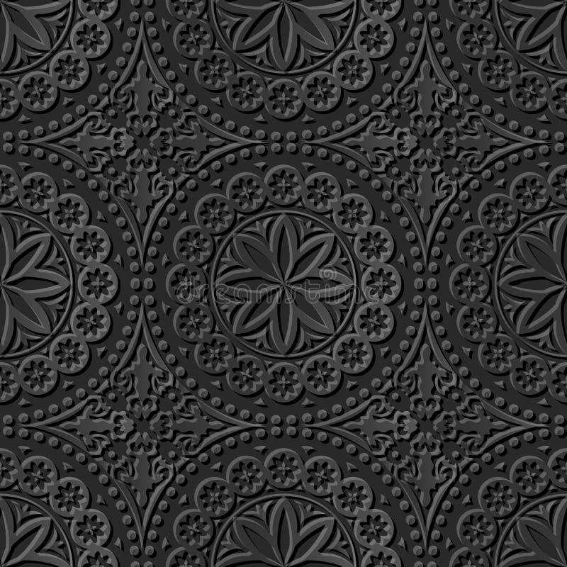 Modelo de papel oscuro elegante inconsútil 136 Dot Flower redondo del arte 3D stock de ilustración