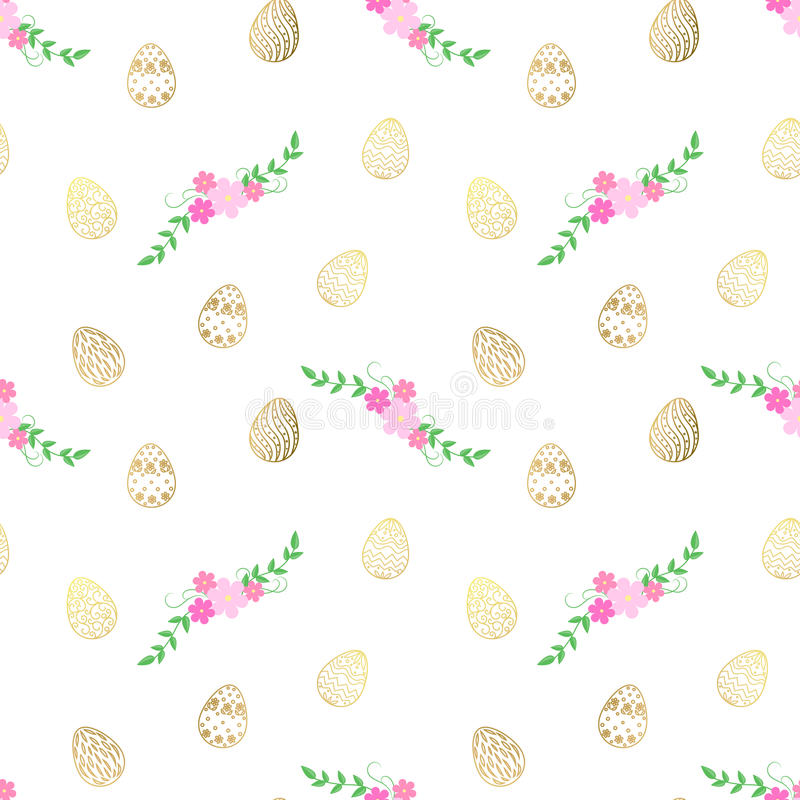 Modelo de Pascua con los huevos y las flores Vector el modelo inconsútil fotos de archivo libres de regalías
