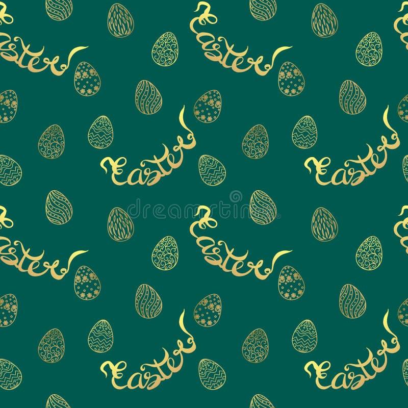 Modelo de Pascua con los huevos y las letras Vector el modelo inconsútil imágenes de archivo libres de regalías