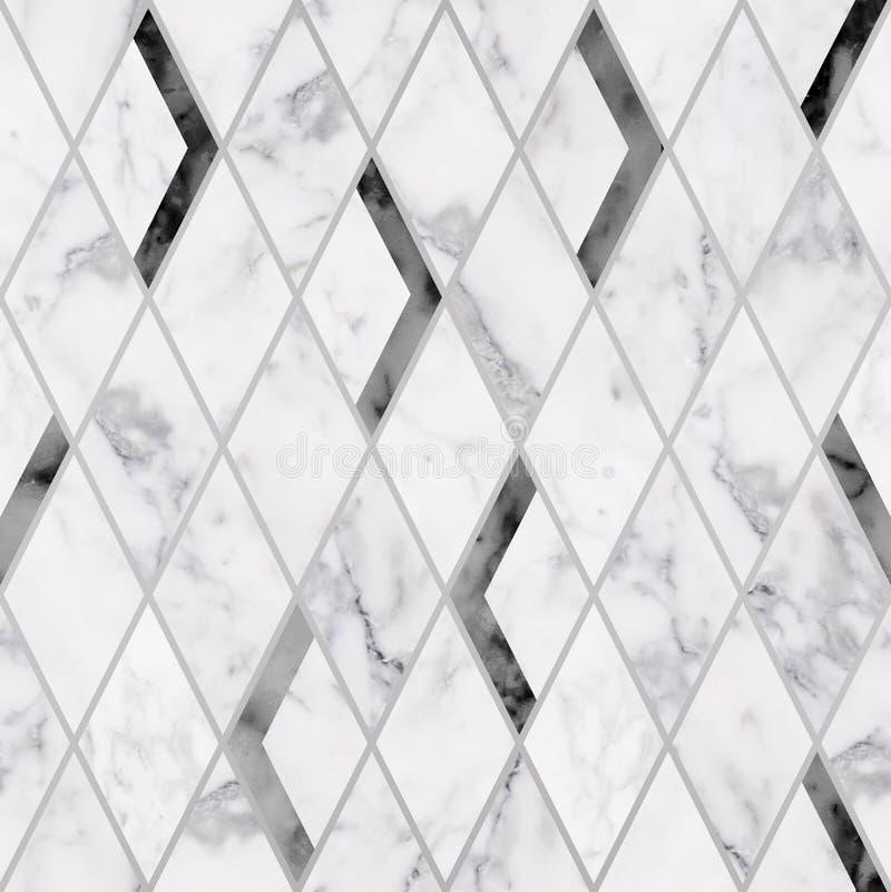 Modelo de piedra de la textura del mármol de lujo inconsútil del Rhombus, fondo de piedra de mármol blanco y negro de lujo de la  fotografía de archivo libre de regalías