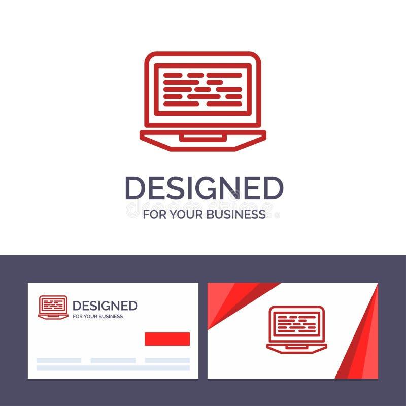 Modelo de placa comercial criativa e logotipo Laptop, Coding, Code, Screen, Computer Vetor Illustration (Ilustração vetorial de c ilustração royalty free