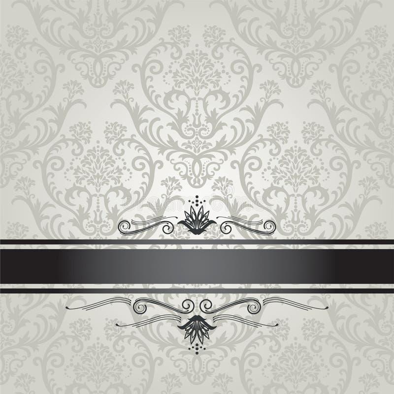 Modelo de plata de lujo del papel pintado floral con negro  ilustración del vector