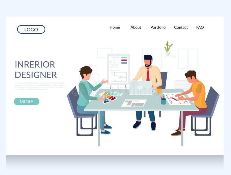Modelo de projeto de página inicial do site de vetor do designer interior ilustração stock