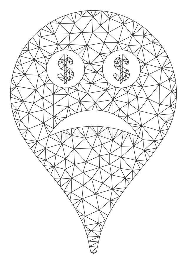 Modelo de quadro de fio falido de Smiley Map Marker Vetora Mesh ilustração do vetor